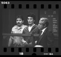 Richard Ramirez (aka The Night Stalker) with attorney Joseph Gallegos in Los Angeles, Calif., 1985