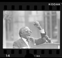 South African Anglican Bishop Desmond Tutu making speech in Los Angeles, Calif., 1986