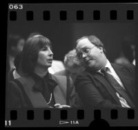 Bobbi Fielder and her advisor Paul Clarke in court during indictment hearing in Los Angeles, Calif., 1986
