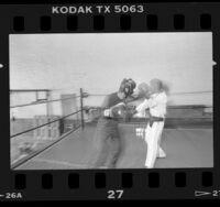 Bantamweight boxer Jaime Garza sparring during training for comeback bout in Los Angeles, Calif., 1986