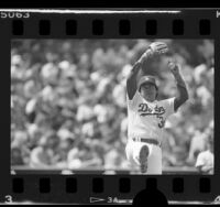 Dodgers' Fernando Valenzuela in wind up for pitch, Los Angeles, Calif., 1986