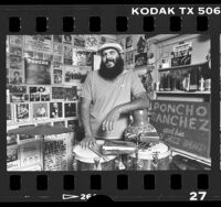 Los Angeles based musician, Poncho Sanchez in his studio, Calif., 1986