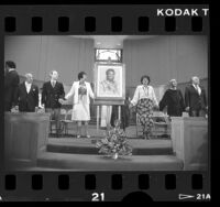 Memorial service for Challenger astronaut Ronald McNair at Trinity Baptist Church in South Los Angeles, Calif., 1986