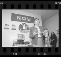 NOW's Eleanor Smeal speaking about National March for Women's Lives in Los Angeles, Calif., 1986