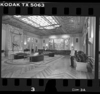 Lobby of the Biltmore Hotel after renovation, Los Angeles, Calif., 1986