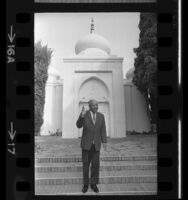 Swami Prabhavananda at entrance to Vedanta Society temple in Hollywood, Calif., 1968
