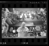 James Beard, chef and food writer in a kitchen, 1968
