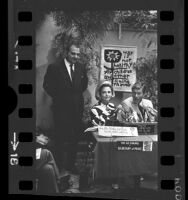 Congressman George Brown, actors Donna Reed and Dick Van Dyke holding press conference about Secretary of Peace campaign, 1968