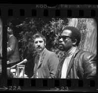 Black Panther leader, Eldridge Cleaver and Jack Weinberg holding press conference in Los Angeles, Calif., 1968