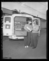 Marie Brown and Margie Barrett with their bakery wagon tell of being harassed by unionists in Los Angeles, Calif., 1949