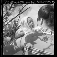Unwed mother holding her baby in Los Angeles, Calif., 1969
