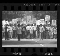 UCLA students walking arm in arm, others with picket signs during protest against National Guard actions at UC Berkeley, 1969