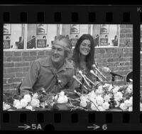 Timothy Leary and his wife, Rosemary Woodruff holding news conference in Los Angeles, Calif., 1969