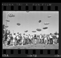Frisbee tossing championships at Brookside Park in Pasadena, Calif., 1969