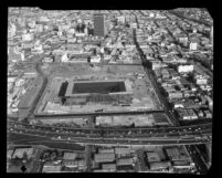Aerial view of Los Angeles Convention Center construction and surrounding area, 1970