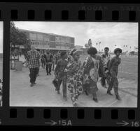 Bethune Junior High School students wearing ethnic African garb during Black History Week in Los Angeles, Calif., 1970