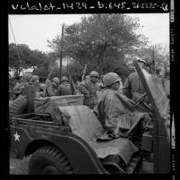National guardsmen organizing men to handle student disruption at Isla Vista near U.C. Santa Barbara, 1970