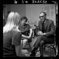 Dr. Samuel Black and Marian Ovsey talking with unwed mother at Florence Crittenton Home, Los Angeles, Calif., 1970