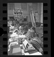 Los Angeles' Occidental College students with typewriters collecting letters to U.S. President Richard Nixon, 1970