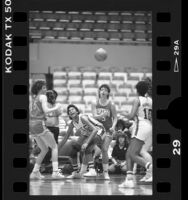 Basketball players Cherie Nelson and Sharla Muralt during USC vs Montana game in Los Angeles, Calif., 1986