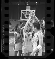 Basketball players Kalen Wright, Paula Pyers, Melissa Ward and teammates rejoicing after qualifying for Final Four, Calif., 1986