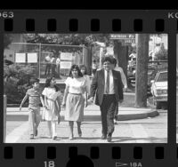 55th Assembly District candidate Mike Hernandez with his wife and their children, Los Angeles, Calif., 1986
