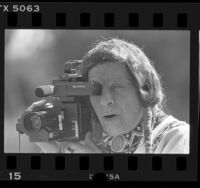 Iron Eyes Cody filming dedication of Indian Garden with a Quasar VHS camcorder in Los Angeles, 1986