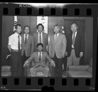 Korean American civic leaders Chang Keum Lee, Ho Young Chung, Joseph J. Cho, Augustine K. Lee, Chai B. Byun, and Ki-myung Rhee Los Angeles, Calif., 1986