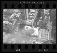 Aerial view of fire at the Los Angeles Central Library, 1986