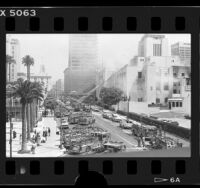 Street lined with fire engines during Los Angeles Central Library fire, 1986