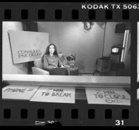 "Cynthia Jimenez-Telles on set of KSCI's ""Consulta Psicologica"" television program in Calif., 1986"