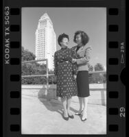 Rose Ochi and her mother Grace Matsui with Los Angeles City Hall in background, 1986