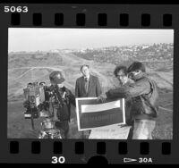 Michael D. Antonovich filming Senatorial campaign ad at the California-Mexican border, 1986