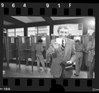 Senatorial candidate Bruce Herschensohn after casting his ballot in Hollywood, Calif., 1986