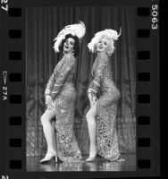 "Manuel Arte as Jane Russell and Frankie Kein as Marilyn Monroe in drag show ""Faces"" in Santa Monica, Calif., 1986"