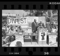 Mayor Tom Bradley and Alan Cranston speaking at divest and Anti-Apartheid rally at UCLA, 1986