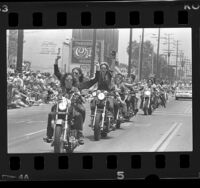 Women bikers in Gay Pride Parade in West Hollywood, Calif., 1986
