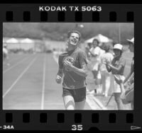 Runner from Kern County participating in Special Olympics, Calif., 1986