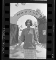 Alida Amabile at entrance to Plaza de la Raza in Los Angeles, Calif., 1986