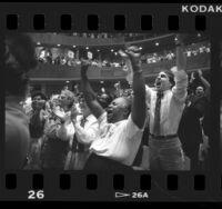 Church of the Open Door congregation cheering Dr. Gene Scott, 1986