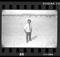 Terry Matz, city manager, standing at proposed prison site in Blythe, Calif., 1986