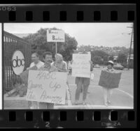Fairness & Accuracy in Reporting (FAIR) group members picketing KABC-TV in Los Angeles, Calif., 1986