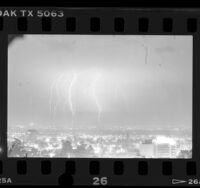 Lightning storm over Hollywood (Los Angeles), 1986