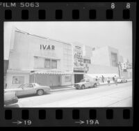 Ivar Theatre burlesque house with Hollywood branch of Los Angeles Public Library next door, Calif., 1987