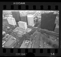 Aerial view of Westwood Village at Wilshire Blvd. in Los Angeles, Calif., 1986