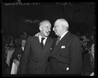 Actor Jimmy Durante and Louis B. Mayer during award dinner at Mt. Sinai Men's Club in Los Angeles, Calif., 1948