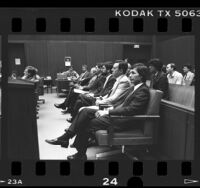 Defendants in court during Twilight Zone trial in Los Angeles, Calif., 1986
