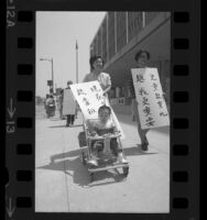 Joyce May pushing her son in a stroller while picketing to demand more money for Los Angeles Head Start program, 1970