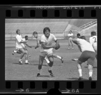 Los Angeles Rams quarterback, Roman Gabriel, practicing during football lockout, Calif., 1970