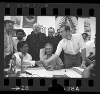 César Chávez with John Giumarra and others after signing pact ending California Grape Strike, 1970